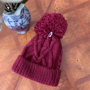 Accessories - NWOT Maroon Red Pom Knitted Winter Hat